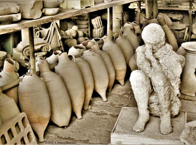 Pompeii plaster cast, made by archaeologists who found voids in the solidified ash