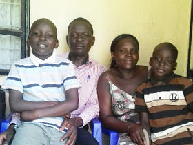 Ayub Omondi Awich with his wife Dorothy Achieng Omondi and sons Moses Adongo, John Terry