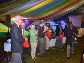 MWC leaders (César García, second from left) receive thanks from host church Kenya Mennonite Church at the General Council meetings in Limuru, Kenya. Photo: Wilhelm Unger
